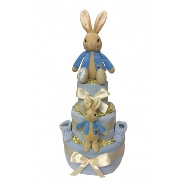 Three Tier Nappy Cake with Peter Rabbit