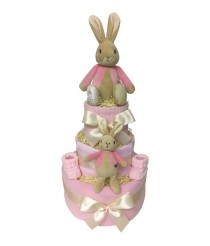 Three Tier Nappy Cake with Flopsy Bunny