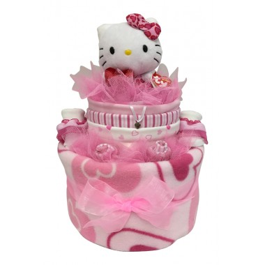 Two Tier Nappy Cake With Hello Kitty