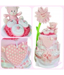 Strawberry Cupcake Deluxe Nappy Cake