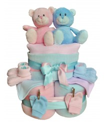 Double the love - Twins Nappy Cake