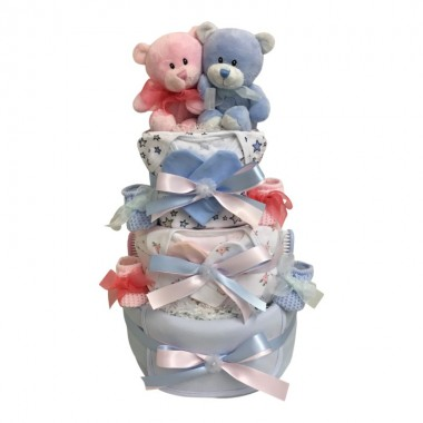 Just The Two Of Us - Twins Pink/Blue Nappy Cake