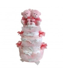 Just The Two Of Us - Twins Pink Nappy Cake