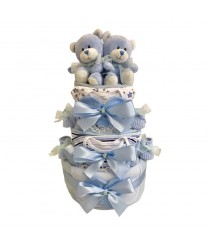 Just The Two Of Us - Twins Blue Nappy Cake