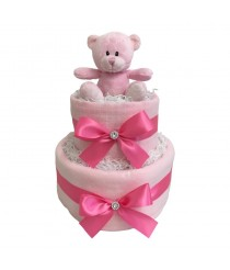 Dinky Darlings - Pink - 2 Tier Nappy Cake