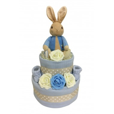 Two Tier Nappy Cake With Peter Rabbit