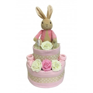 Two Tier Nappy Cake With Flopsy Bunny