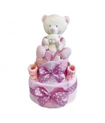 Big Ted - Little Ted 2 Tier Nappy Cake Pink