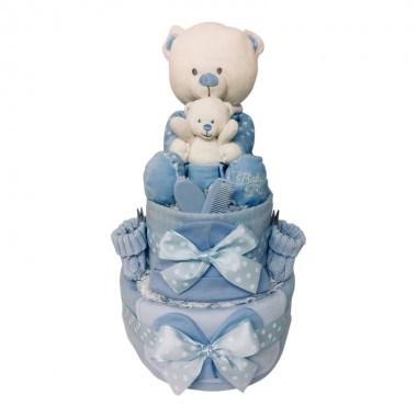 Big Ted - Little Ted 2 Tier Nappy Cake  Blue