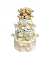 Just The Two Of Us - Twins Neutral Nappy Cake