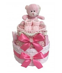 Wrapped in Luxury - Pink 2 Tier Nappy Cake