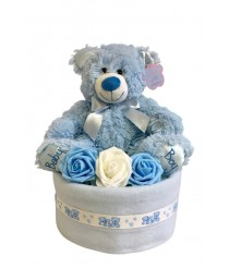 Keepsake Teddy Nappy Cake - Blue