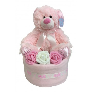 Keepsake Teddy Nappy Cake - Pink