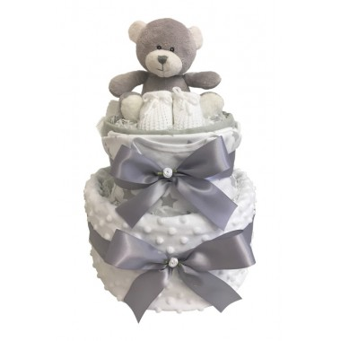 Wrapped in Luxury - White 2 Tier Nappy Cake